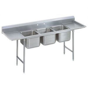 Regaline Three Compartment Sink, 20 x 16 x 12 Bowls, Two Drainboards, 16/304 S/S, 127 Inches