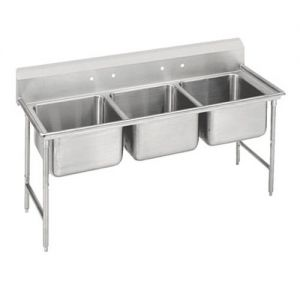 Regaline Three Compartment Sink, 28 x 20 x 12 Bowls, 16/304 Stainless Steel, 74 Inches