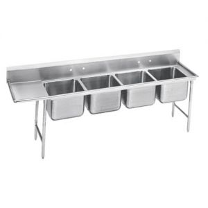 Regaline Four Compartment Sink, 28 x 20 x 12 Bowls, Left Drainboard, 16/304 S/S, 129 Inches