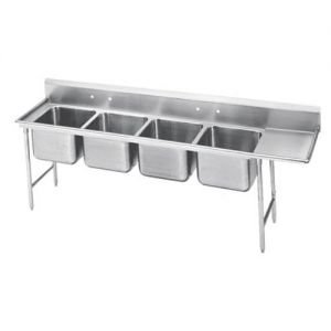 Regaline Four Compartment Sink, 28 x 20 x 12 Bowls, Right Drainboard, 16/304 S/S, 129 Inches