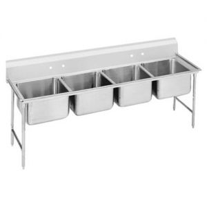 Regaline Four Compartment Sink, 20 x 12 x 8 Bowls, 16/304 Stainless Steel, 97 Inches