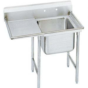 Regaline One Compartment Sink, 28 x 20 x 12 Bowls, Left Drainboard, 16/304 S/S, 50 Inches
