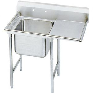Regaline One Compartment Sink, 28 x 20 x 12 Bowls, Right Drainboard, 16/304 S/S, 50 Inches