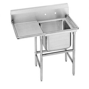 Regaline One Compartment Sink, 20 x 20 x 14 Bowls, Left Drainboard, 14/304 S/S, 50 Inches