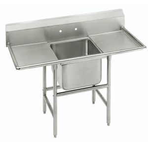 Regaline One Compartment Sink, 28 x 20 x 14 Bowls, Two Drainboards, 14/304 S/S, 56 Inches