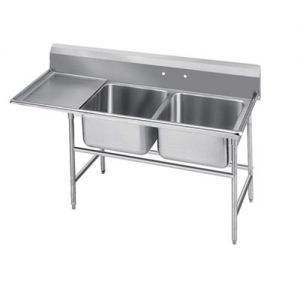 Regaline Two Compartment Sink, 24 x 18 x 14 Bowls, Left Drainboard, 14/304 S/S, 80 Inches