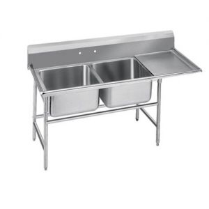 Regaline Two Compartment Sink, 24 x 18 x 14 Bowls, Right Drainboard, 14/304 S/S, 80 Inches