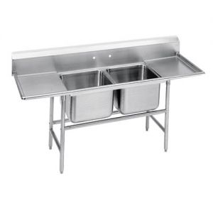 Regaline Two Compartment Sink, Two Drainboards, 14/304 Stainless Steel, 109 Inches