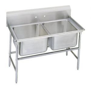 Regaline Two Compartment Sink, 28 x 20 x 14 Bowls, 14/304 Stainless Steel, 52 Inches