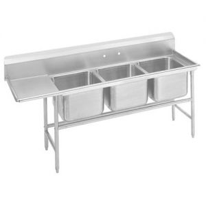 Regaline Three Compartment Sink, 28 x 20 x 14 Bowls, Left Drainboard, 14/304 S/S, 107 Inches