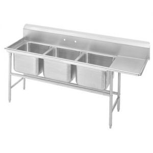 Regaline Three Compartment Sink, 28 x 20 x 14 Bowls, Right Drainboard, 14/304 S/S, 107 Inches
