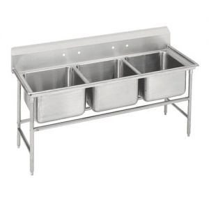 Regaline Three Compartment Sink, 28 x 20 x 14 Bowls, 14/304 Stainless Steel, 74 Inches
