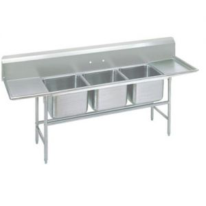 Regaline Three Compartment Sink, 28 x 20 x 14 Bowls, Two Drainboards, 14/304 S/S, 139 Inches