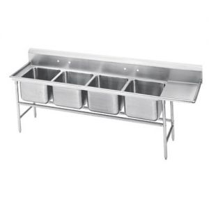 Regaline Four Compartment Sink, 28 x 20 x 14 Bowls, Right Drainboard, 14/304 S/S, 117 Inches