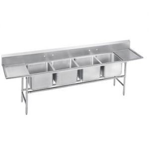 Regaline Four Compartment Sink, Two Drainboards, 14/304 Stainless Steel, 146 Inches