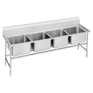 Regaline Four Compartment Sink, 28 x 20 x 14 Bowls, 14/304 Stainless Steel, 97 Inches
