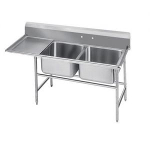 Regaline Two Compartment Sink, 24 x 18 x 12 Bowls, Left Drainboard, 14/304 S/S, 80 Inches