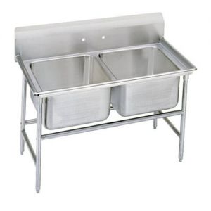 Regaline Two Compartment Sink, 28 x 20 x 12 Bowls, 14/304 Stainless Steel, 52 Inches