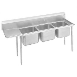 Regaline Three Compartment Sink, 28 x 20 x 12 Bowls, Left Drainboard, 18/304 S/S, 107 Inches