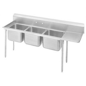 Regaline Three Compartment Sink, 20 x 12 x 8 Bowls, Right Drainboard, 18/304 S/S, 107 Inches