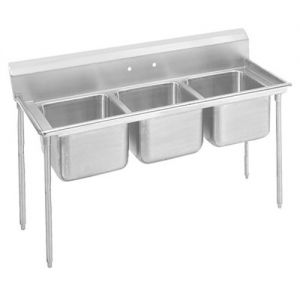 Regaline Three Compartment Sink, 28 x 20 x 12 Bowls, 18/304 Stainless Steel, 74 Inches