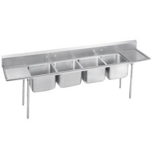 Regaline Four Compartment Sink, Two Drainboards, 18/304 Stainless Steel, 178 Inches