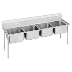 Regaline Four Compartment Sink, 28 x 20 x 12 Bowls, 18/304 Stainless Steel, 97 Inches