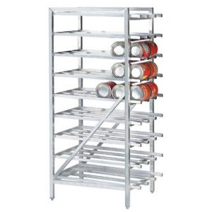Stationary Can Rack, (162) #10 cans or (216) #5 cans, Aluminum