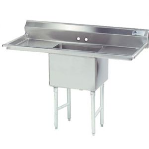 Fabricated One Compartment Sink, Two Drainboards, 16/304 Stainless Steel, 18 x 24 Bowl, 66 Inches