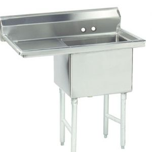 Fabricated One Compartment Sink, Left Drainboard, 16/304 Stainless Steel, 45 Inches