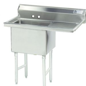 Fabricated One Compartment Sink, Right Drainboard, 16/304 Stainless Steel, 24 x 24 Bowl