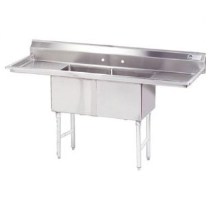Fabricated 2 Compartment Sink, Two Drainboards, 18 x 24 x 14 Bowls, 16/304 S/S, 96 Inches