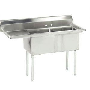 Fabricated 2 Compartment Sink, Left Drainboard, 18 x 24 x 14 Bowls, 16/304 S/S, 74-1/2 Inches