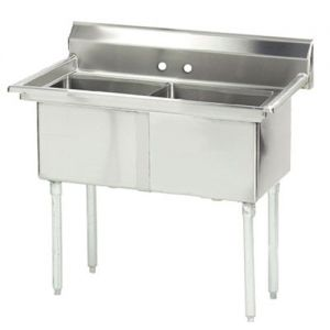 Fabricated 2 Compartment Sink, 18 x 18 x 14 Bowls, 16/304 Stainless Steel, 41 Inches