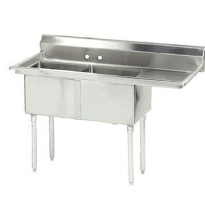 Fabricated 2 Compartment Sink, Right Drainboard, 18 x 24 x 14 Bowls, 16/304 Stainless Steel