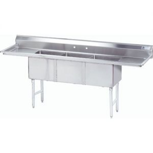 Fabricated 3 Compartment Sink, Two Drainboards, 24 x 24 x 14 Bowls, 16/304 S/S, 120 Inches