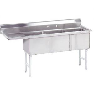 Fabricated 3 Compartment Sink, Left Drainboard, 24 x 24 x 14 Bowls, 16/304 S/S, 99 Inches