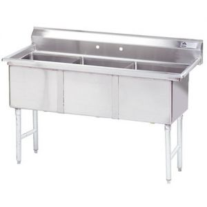 Fabricated 3 Compartment Sink, 24 x 24 x 14 Bowls, 16/304 Stainless Steel