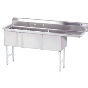 Fabricated 3 Compartment Sink, Right Drainboard, 24 x 24 x 14 Bowls, 16/304 S/S, 99 Inches