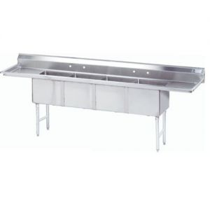 Fabricated 4 compartment Sink, Two Drainboards, 16/304 Stainless Steel, 144 Inches