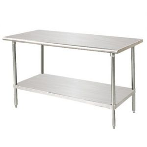 14 Gauge 24 x 108 304 Stainless Steel Worktable with Adjustable Undershelf