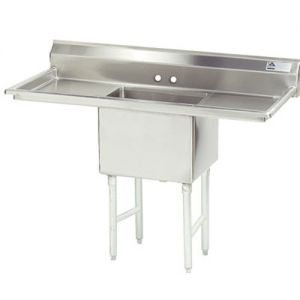 Fabricated One Compartment Sink, Two Drainboards, 14/304 Stainless Steel, 24 x 24 Bowl