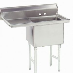 Fabricated One Compartment Sink, Left Drainboard, 14/304 Stainless Steel, 24 x 24 Bowl