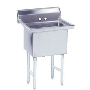 Fabricated One Compartment Sink, 14/304 Stainless Steel, 18 x 24 Bowl
