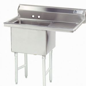 Fabricated One Compartment Sink, Right Drainboard, 14/304 S/S, 18 x 24 Bowl, 50-1/2 Inches