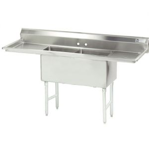 Fabricated 2 Compartment Sink, Two Drainboards, 30 x 24 x 14 Bowls, 14/304 Stainless Steel