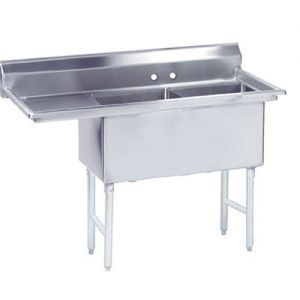 Fabricated 2 Compartment Sink, Left Drainboard, 30 x 24 x 14 Bowls, 14/304 Stainless Steel
