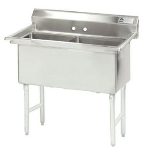 Fabricated 2 Compartment Sink, 30 x 24 x 14 Bowls, 14/304 Stainless Steel