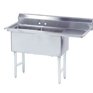 Fabricated 2 Compartment Sink, Right Drainboard, 30 x 24 x 14 Bowls, 14/304 Stainless Steel