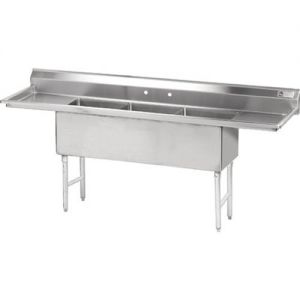 Fabricated 3 Compartment Sink, Two Drainboards, 18 x 24 x 14 Bowls, 14/304 S/S, 102 Inches